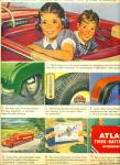 Click here to enlarge image and see more about item Z6502: Atlas tires - batteries accessories ad 1950