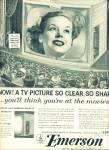 Click here to enlarge image and see more about item Z6765: Emerson television ad 1953 TV - Just like the Movies