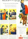 Click here to enlarge image and see more about item Z6793: 1944 Singer Sewing Center GIRL w/ 5 THUMBS AD