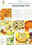 1944 GREEN GIANT  tender sweet peas AD RECIPE