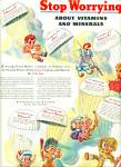 Click here to enlarge image and see more about item Z6798: 1944 OVALTINE AD Artwork BIG EYED Kids