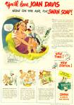 1945 Swan Soap AD JOAN DAVIS CUTE ART