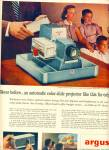 Click here to enlarge image and see more about item Z7360: Argus color slide projector ad 1956