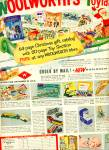 Click here to enlarge image and see more about item Z7377: 1956 Woolworth's toyland AD TOYS DOLLS TRUCKS