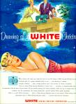 1956 White Sewing Machine AD Woman Dream ART