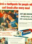 Gleem tooth paste ad 1955