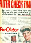 Click here to enlarge image and see more about item Z7549: PurOlator oil filter ad 1955