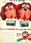 1955 AC Oil filter AD CARTOON DOGS St Bernard