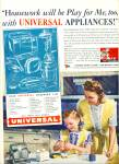 Click here to enlarge image and see more about item Z7586: 1945 Universal Appliances AD Mom - Girl