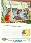 1947 ALCOA AD Vintage FAMILY at WINDOW ART