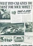 1939 DODGE - PLYMOUTH CAR AD  PROMO
