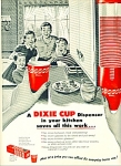 Click here to enlarge image and see more about item Z7859a: 1954 Dixie CUP Red AD 4 KIDS SMILING ART
