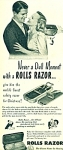 Click here to enlarge image and see more about item Z7883a: 1950 Rolls Razor  shaver AD NEVER DULL MOMENT