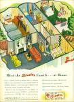 Click here to enlarge image and see more about item Z8086: 1947 Simtex Mills AD Linen w/ HOME Cutout ART