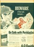 Click here to enlarge image and see more about item Z8271: 1952 A. O.Smith Permaglas AD ART HICKS BEWARE