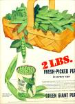 Click here to enlarge image and see more about item Z9542: 1950 -  Green Giant peas ad