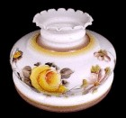 "Milk Glass Handpainted Floral Student Lamp Shade 10"" Yellow Roses"