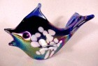 Fish Paperweight Cobalt Carnival Art Glass Iridescent Figurine