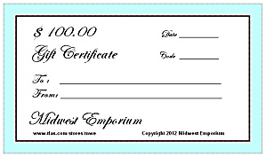 $100.00 Gift Certificate From The Midwest Emporium