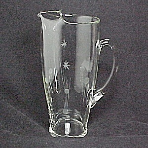 Etched Crystal Cocktail Pitcher W/ Stars Comets Paden City Glass