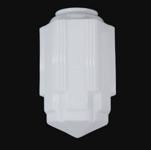 Art Deco MIlk Glass Light Shade 6 X 16.5 SkyScraper Pendant (Image1)
