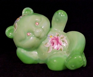 Fenton Art Glass Bear Figurine Hand Painted Signed New (Image1)