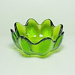 Blenko Indiv Salad Bowl Green Lotus Petal Husted C1961