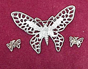 Sarah Coventry Butterfly Brooch Pin w Earrings Vintage (Image1)