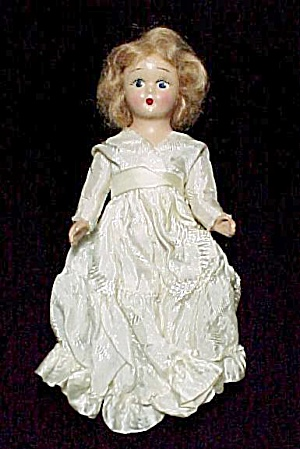 Vintage 7 inch Composition Doll in Satin Damask Dress (Image1)