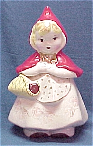Pottery Little Red Riding Hood Cookie Jar Vintage Reproduction (Image1)