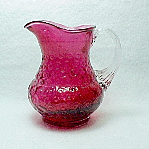 Fenton Cranberry Glass Pitcher Jug Creamer 4.5 In American Art