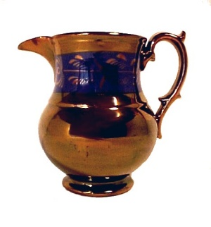 Antique Copper Lustre 5in China Creamer Pitcher Jug Pottery (Image1)