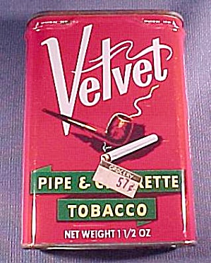 Velvet Pipe Cigarette Tobacco Pocket Tin Vintage Full Advertising