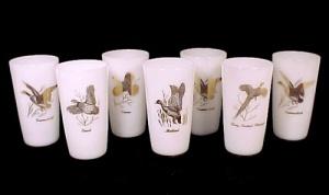 7 Wild Game Bird Federal Milk Glass Drinking Tumbler Glasses (Image1)