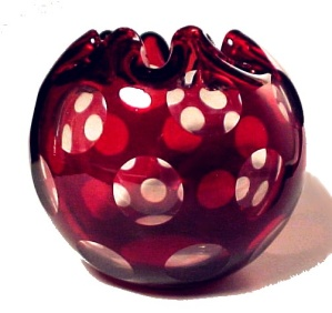 Ruby Rose Bowl Vase Victorian Cut Punty Glass Antique