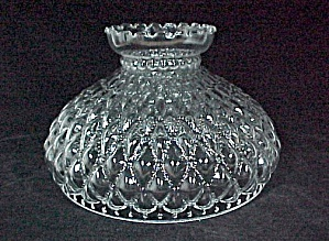 Glass Lamp Shade Diamond Quilt Quilted 10in Oil Kerosene Clear Aladdin (Image1)
