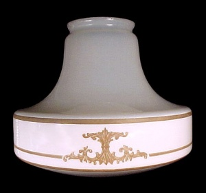 Antique Art Deco White Glass Pendant Light Shade Tan Flat Etched (Image1)