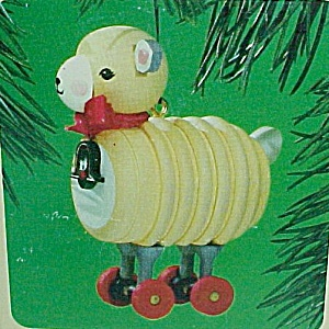 1984 Hallmark Christmas Tree Ornament Wooden Lamb Childhood Nostalgic