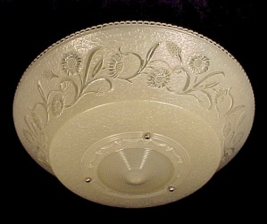 Art Deco Glass 16 In Ivory Ceiling Light Shade 3 Hole Bead Chain