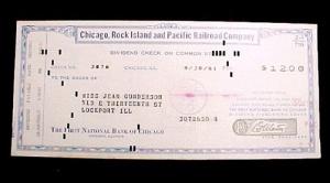 Chicago Rock Island & Pacific Railroad 1961 Dividend Check Vintage (Image1)