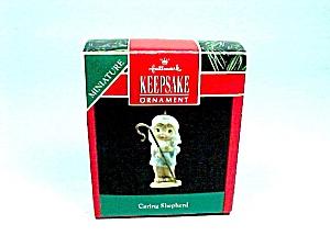 1991 Hallmark Christmas Tree Ornament Miniature Caring Shepherd (Image1)