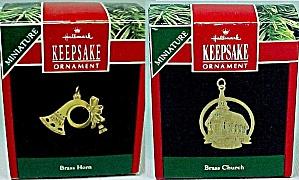 Two 1991 Hallmark Christmas Tree Ornament Miniature Brass Church Horn (Image1)