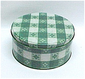 Green White Plaid Gingham Tin Cookie Can Jar Tablecloth (Image1)