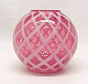 Cranberry Opalescent Art Glass Rose Bowl Vase Vintage (Image1)