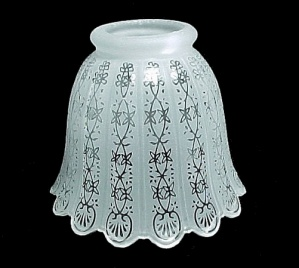 Floral Bell Frosted Glass 2.25 Light Lamp Shade Ornate Filigree Etched (Image1)