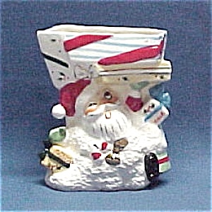 napco santa claus planter loaded w  christmas packages  image1