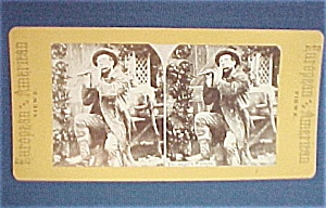 Stereo View Stereoscope Card Stereoview Flute Player