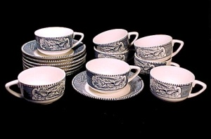 8 Currier & Ives Cups & Saucer Plain Handle Royal China