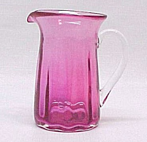 Pilgrim Blown Glass Cranberry Pitcher Creamer Jug Label (Image1)