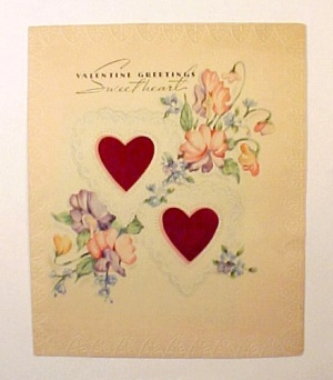 Vintage 1940s Valentine Day Card Sweetheart Love Heart (Image1)
